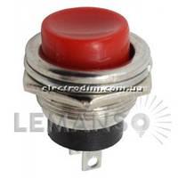 Кнопка Lemanso LSW15 круглая красная металл ON-(OFF)// DS-212C