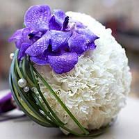 Букет невесты бело-фиолетовый