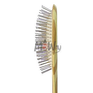 Salon Prof. Расческа массажная 72250 BP (дерево полоски) большая овальная металл-зубья, фото 2