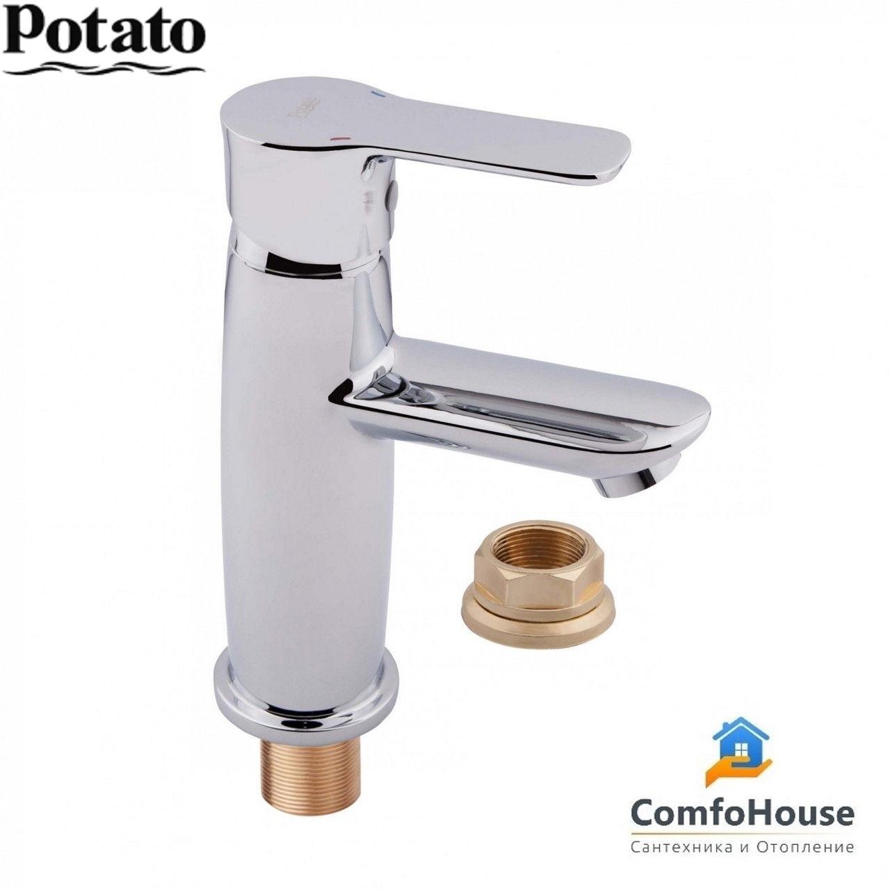 Смеситель для умывальника Potato P1033 (на гайке, картридж 35)