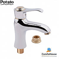 Смеситель для умывальника Potato P1015-4 (на гайке, картридж 35), фото 1