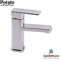 Смеситель для умывальника Potato P1006 (на гайке, картридж 35), фото 1