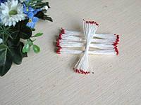Тайские тычинки, бордовые, мелкие на белой  нити, 23-25 нитей, 50 головок