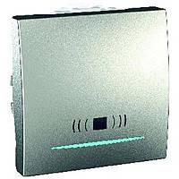 """Выключатель """"Звонок"""" одноклавишный с подсветкой 2-модульный Schneider Electric Unica Алюминий (MGU3.206.30CN)"""