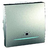 """Выключатель """"Свет"""" одноклавишный с подсветкой 2-модульный Schneider Electric Unica Алюминий (MGU3.206.30LN)"""