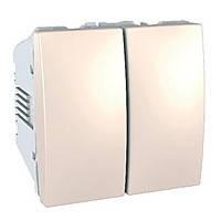 Выключатель двухклавишный Schneider Electric - Unica Слоновая Кость (mgu3.211.25)