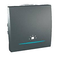"""Выключатель кнопочный """"Свет"""" одноклавишный с подсветкой Schneider Electric Unica Графит (MGU3.206.12LN)"""