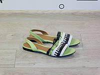 Сандалии (босоножки) женские салатовые (зеленые) эко-кожа