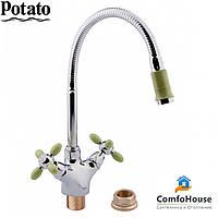 Смеситель для кухни Potato P5860-11 (высокий излив, буксовый)