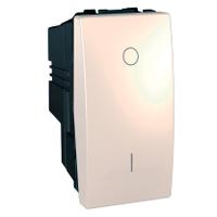 Выключатель одноклавишный 2-полюса 1-модуль Schneider Electric Unica Слоновая Кость (MGU3.162.25)
