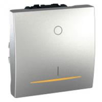 Выключатель одноклавишный 2-полюсный с индикацией Schneider Electric Unica Алюминий (MGU3.262.30S)