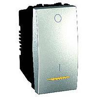 Выключатель одноклавишный 2-полюсный с подсветкой 1-модуль 16 А Schneider Electric Unica (MGU3.162.30S)