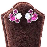 Серьги-гвоздики с разноцветными камнями