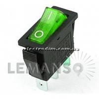 Переключатель  Lemanso  LSW01 узкий зелёный с подсв. / KCD3-102N
