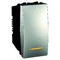 Выключатель одноклавишный с индикацией 16А Schneider Electric Unica Алюминий (MGU3.161.30S)