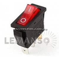 Переключатель  Lemanso  LSW01 узкий красный с подсв. / KCD3-102N