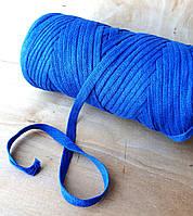 Пряжа ленточная толстая для ковров и сумок ярко-синяя