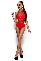 Сдельный купальник из бифлекса и стрейч-сетки, красный, размер 42-44, 44-46