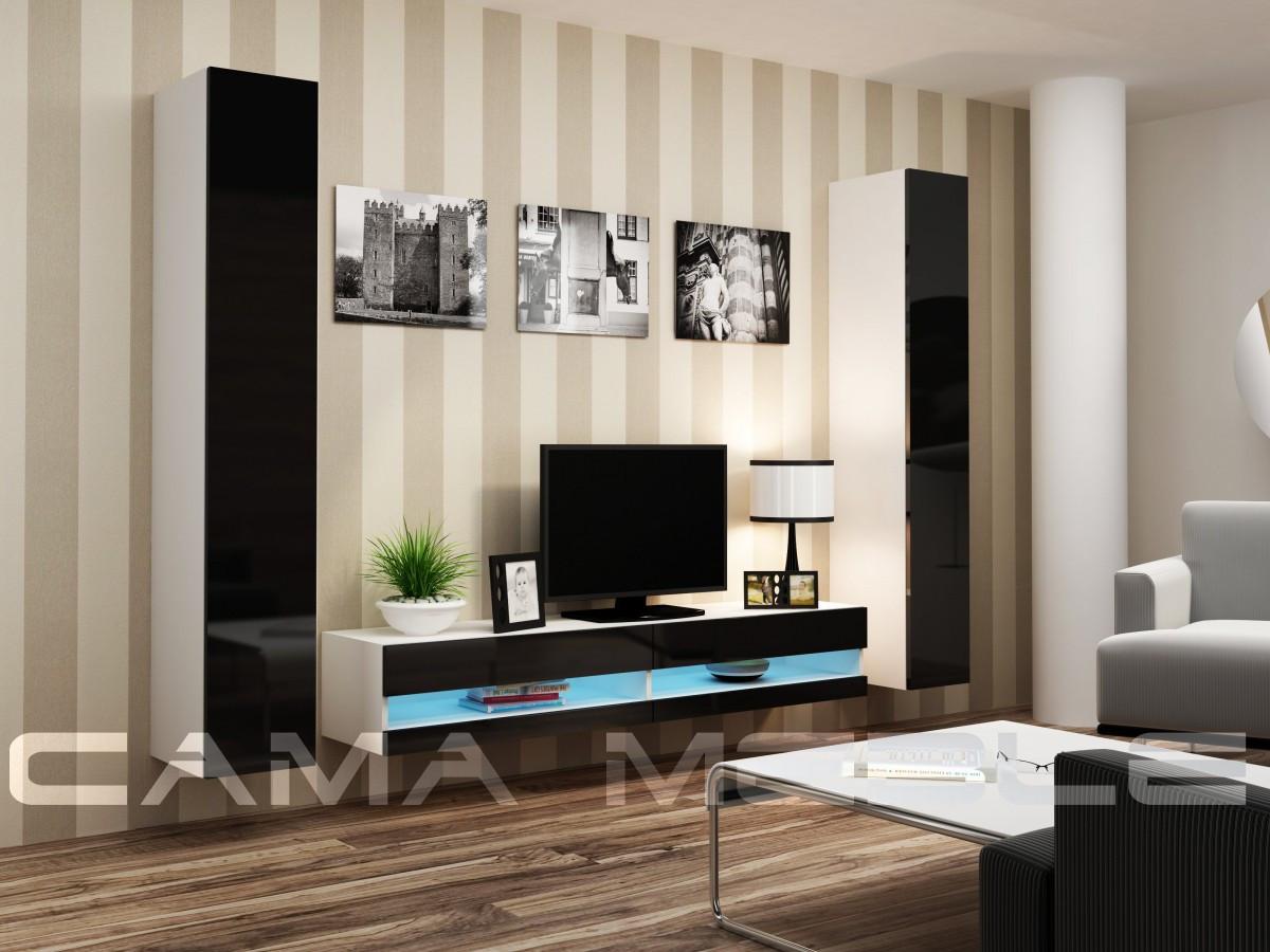 Гостиная Vigo NEW 4 Cama белый/черный глянец