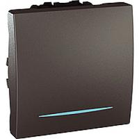 Переключатель одноклавишный проходной с подсветкой 2-модуля Schneider Electric Unica Графит (MGU3.263.12N)