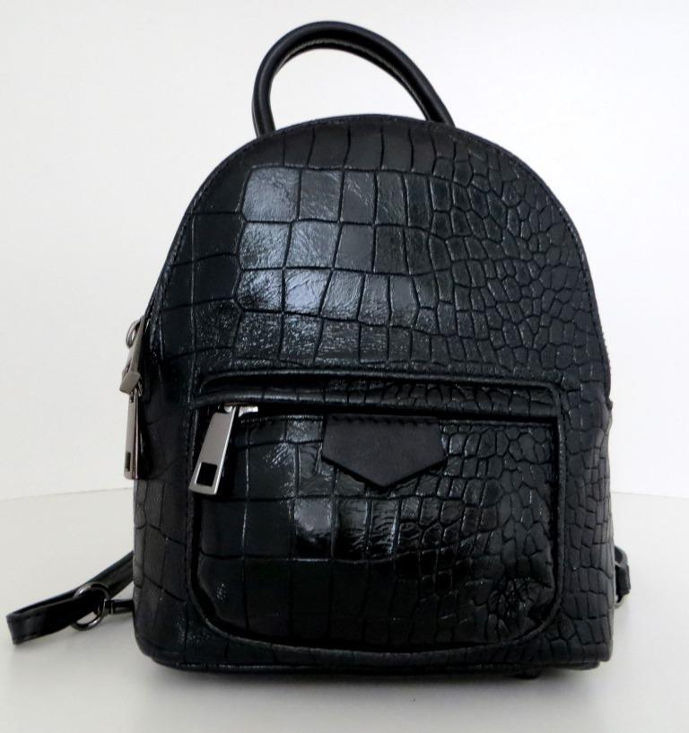 Сумка - рюкзак молодіжний. 100% натуральна шкіра! Чорний