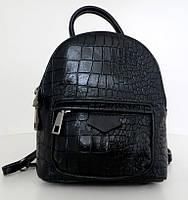 Сумка - рюкзак молодіжний. 100% натуральна шкіра! Чорний, фото 1