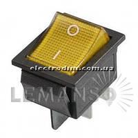 Переключатель  Lemanso  LSW02 большой жёлтый с подсв. / KCD2-201\N
