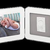 Набор для создания отпечатка ручки и ножки малыша Baby Art Двойная рамка Бело-серая