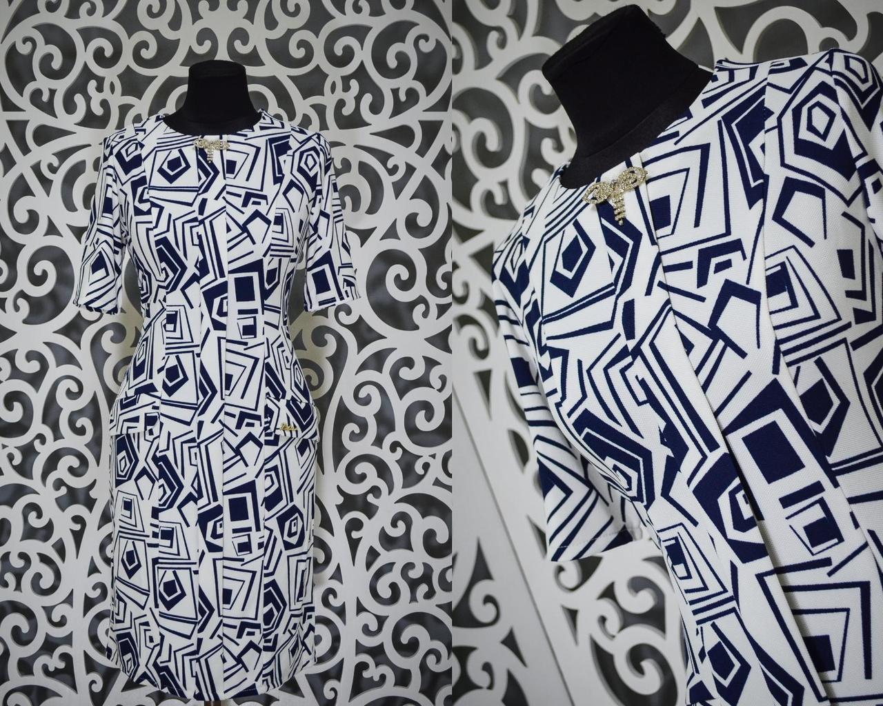 """Изумительное женское платье с брошью ткань """"Легкая кукурузка"""" 48, 50, размер баталы"""