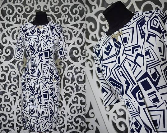 """Изумительное женское платье с брошью ткань """"Легкая кукурузка"""" 48, 50, размер баталы, фото 2"""
