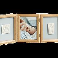 Набор для создания отпечатка ручки и ножки малыша Baby Art Тройная рамка, фото 1