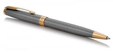 Шариковая ручка Parker SONNET 17 Cisele Silver GT BP серебряная, серая сетка с позолотой 88 032