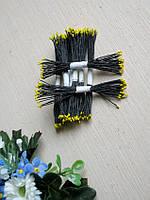 Тайские тычинки, желтые, мелкие на черной нити, 23-25 нитей, 50 головок