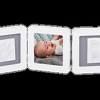 Набор для создания отпечатка ручки и ножки малыша Baby Art Тройная рамка Бело-серая