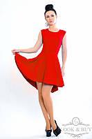 """Платье с асимметрией  """"Фенди"""", красное"""