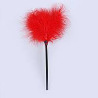Метелочка для ласкания перьевая красного цвета пушок перо БДСМ фетиш ручка 17 см