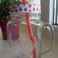 Баночка  стеклянная с ручкой  и трубочкой для подачи напитков 400мл