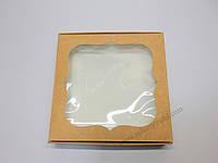 """Картонная коробка для конфет и макаронс """"Крафт с фигурным окном """"Эконом"""" 15*15*3 см"""""""