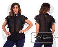 Шифоновая блуза с украшением р-р 48 цвет ЧЕРНЫЙ