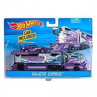 Hot Wheels Трейлер автовоз с машинкой Фиолетовый галактический экспресс-перевозчик Purple Galactic Express Hauler