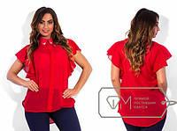 Шифоновая блуза с украшением р-р 48 цвет ЧЕРНЫЙ и КРАСНЫЙ