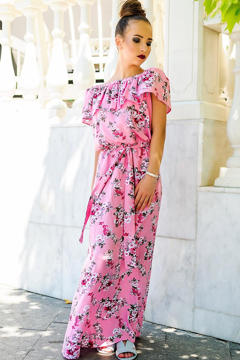 """Длинное розовое платье """"Венера принт"""""""