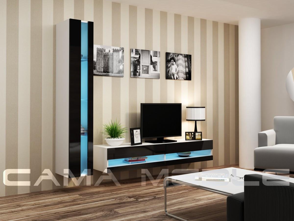 Гостиная Vigo NEW 8 Cama белый/черный глянец