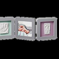Набор для создания отпечатка ручки и ножки малыша Baby Art Тройная рамка Серая