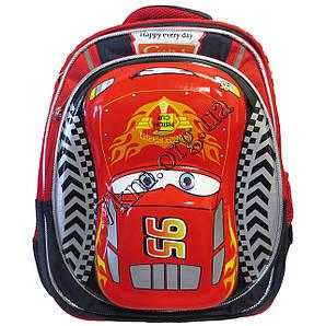 """Рюкзак детский школьный 3D для мальчиков """"Машина-95"""" темно-синий +красный 35*30"""