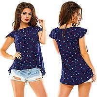 Жіноча літня блуза видовжена ззаду.Р-ри 42-48