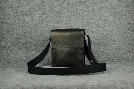 Мужская сумка через плечо на два отдела |10141| Черный