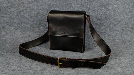 Мужская сумка через плечо на два отдела  10149  Италия  Темный кофе