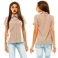 Жіноча літня блуза на короткий рукав з комірцем.Р-ри 42-48