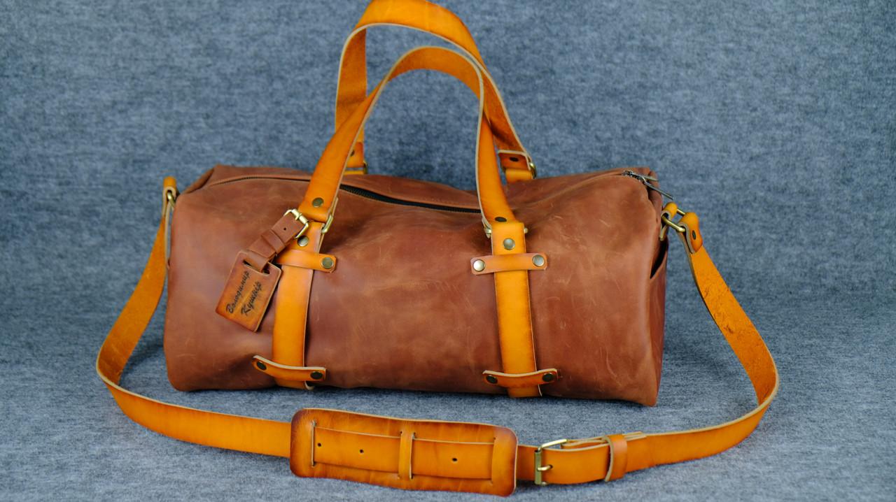 Именная спортивная сумка «Travel» |10154| Винтаж | Коньяк